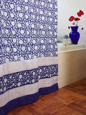 Midnight Lotus ~ Unique Asian Floral Blue Fabric Shower Curtain