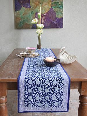 Midnight Lotus ~ Festive Blue Table Runner