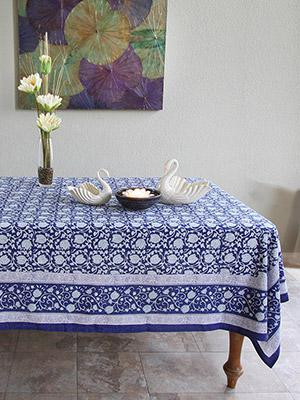 Midnight Lotus ~ Asian Oriental White Floral Blue Tablecloth