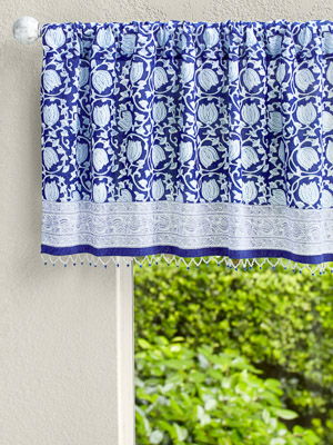 Midnight Lotus ~ Blue Beaded Window Valance Curtains Treatments