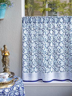 Blue White Floral Bedding Tablecloths Shower Curtains   Saffron Marigold