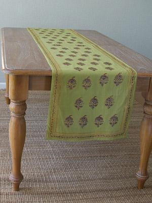 Memories of Shalimar ~ Asian Indian Green Gold Table Runner