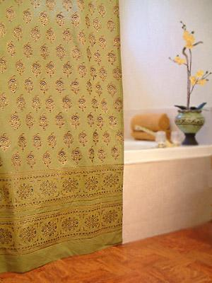 Memories Of Shalimar Asian Green Floral Indian Shower Curtain