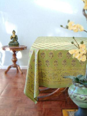 Memories of Shalimar ~ Asian Indian Green Gold Table Cloths