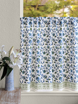 Moonlit Taj ~ Exotic Turquoise Floral Kitchen Curtain