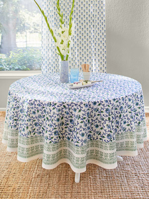 Moonlit Taj ~ Turquoise Elegant Floral Round Indian Tablecloth