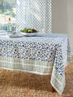Moonlit Taj ~ Elegant Floral Turquoise Indian Tablecloth