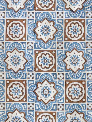 Ocean Breezes ~ Blue and White Fabric Swatch with Moroccan Tiles