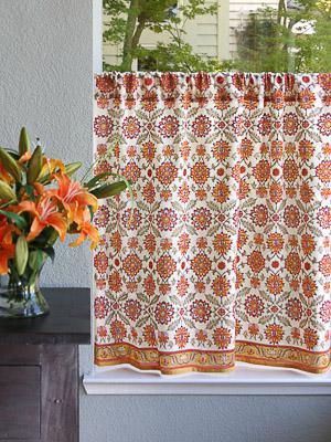 Orange Blossom ~ Persian Mediterranean Floral Kitchen Curtain