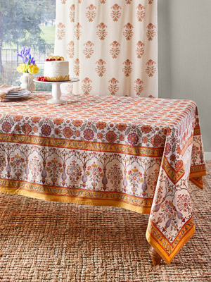 Orange Blossom ~ Persian Mediterranean Floral Print Tablecloth