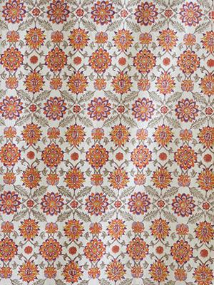 Orange Blossom ~ Orange Fabric Swatch with Mediterranean Styling