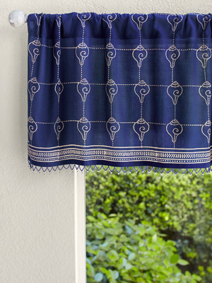 Pacific Blue (CP) ~ Rustic Navy Ocean Asian Window Valance