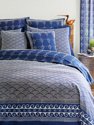Pacific Blue ~ Nautical Asian Indigo Blue Duvet Cover