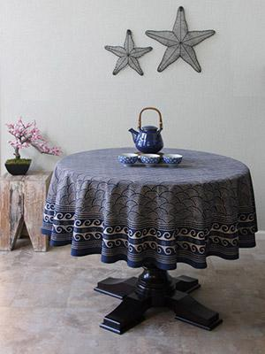 Pacific Blue ~ Rustic Navy Ocean Oriental Asian Round Tablecloth