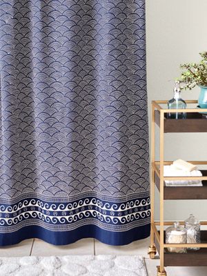 Pacific Blue ~ Rustic Navy Ocean Asian Inspired Shower Curtain