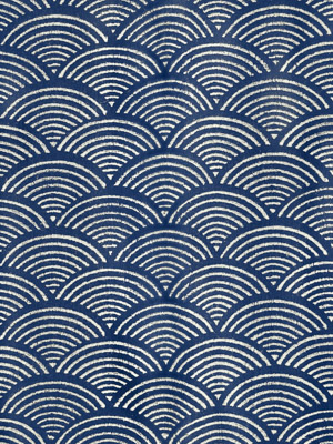 Pacific Blue ~ Blue and White Fabric Swatch with Wave Print