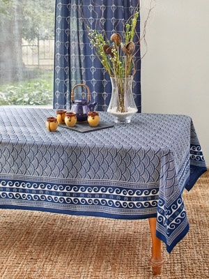 Pacific Blue ~ Ocean Inspired Asian Navy Blue Tablecloth