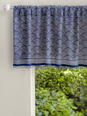 Pacific Blue ~ Rustic Navy Ocean Asian Inspired Window Valance
