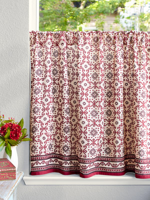 Ruby Kilim (CP) ~ Rustic Ruby Red and Black Kitchen Curtain