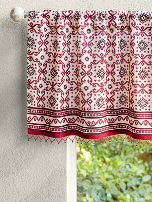 Ruby Kilim (CP) ~ Rustic Red Sheer Beaded Window Valance