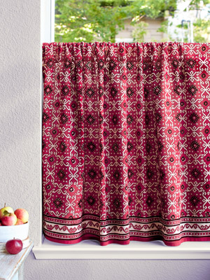 Ruby Kilim ~ Rustic Ruby Red and Black Kitchen Curtain