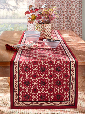 Ruby Kilim ~ Festive Elegant Red Table Runner