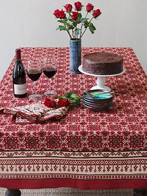 Ruby Kilim ~ Rustic Red Holiday Decorative Table Cloths