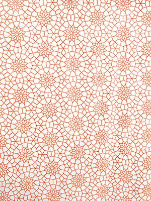 Royal Mansour Coral ~ Moroccan Orange and White Fabric Swatch
