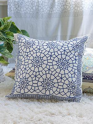 Royal Mansour Lapis ~ Moroccan Navy Trellis Toss Cushion Cover