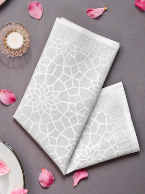 Royal Mansour ~ Moroccan Medallion Trellis White Dinner Napkins