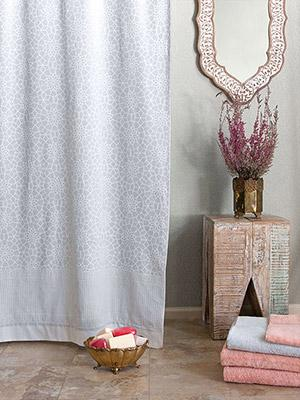 Royal Mansour ~ Moroccan Medallion Trellis White Shower Curtain