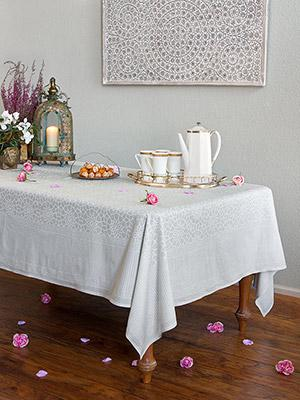 Royal Mansour Moroccan Medallion Trellis White Tablecloth