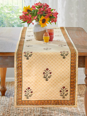 Red Poppy ~ Elegant Floral India Banquet Table runner