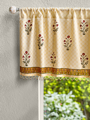 Red Poppy ~ Red Floral Sheer Beaded Window Valance Treatments