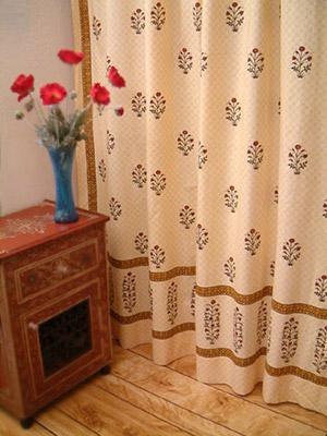 Red Poppy ~ Ethnic Indian Print Floral Bathroom Shower Curtain