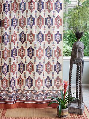Samarkand ~ Aztec Kilim Print Orange Blue Sheer Curtain Panel
