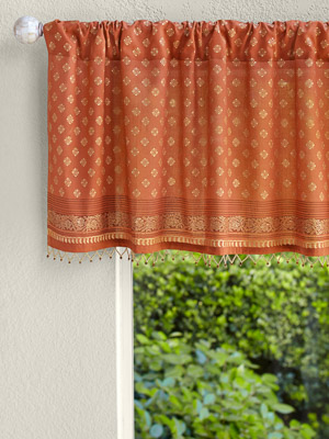 Shimmering Goldstone ~ Burnt Orange Rust Spice and Gold Valance