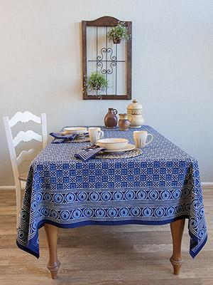 Starry Nights ~ Batik Blue Designer Block Print Tablecloth