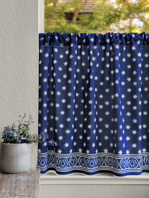 Starry Nights (CP) ~ Indian Blue Batik Kitchen Cafe Curtain