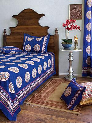 Sultans Palace ~ Royal Blue Moroccan Medallion Bedspread