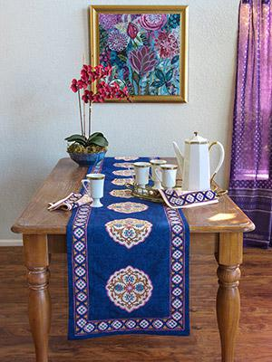 Sultans Palace ~ NEW Moroccan Vintage Blue Long Table Runner