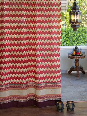 Delightful Spice Route (CP) ~ Red Orange Chevron Print Sheer Curtain Panel