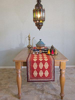 Spice Route ~ Red Orange Moroccan Indian Table Runner