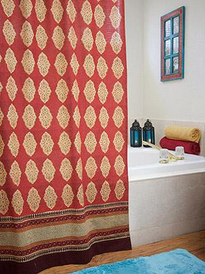 Spice Route ~ Red Orange Moroccan Indian Shower Curtain