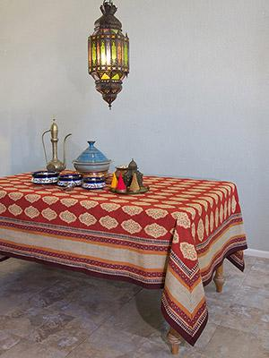 Spice Route ~ Red Orange Moroccan Indian Table Cloth