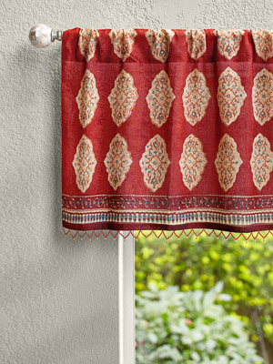 Spice Route ~ Red Orange Moroccan Indian Window Valance