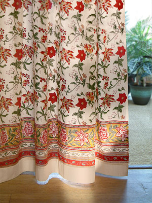Tropical Garden ~ Country Cottage Floral Sheer Curtain Panel