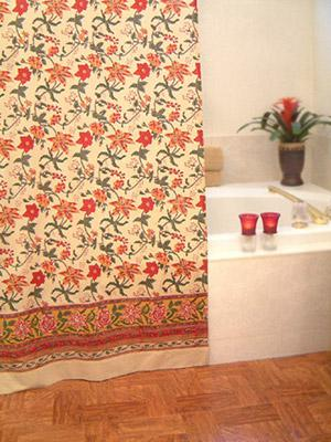 Tropical Garden ~ Colorful Floral Bohemian Fabric Shower Curtain