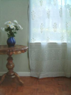 Tulip Mist ~ White Floral India Sheer Curtain Panels