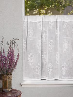 Tulip Mist ~ White Floral Sheer Kitchen Cafe Curtain